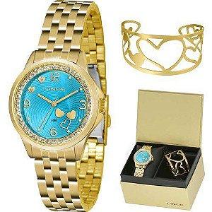 Kit Relogio Feminino Lince Dourado Fundo Azul Lrg4511l Ku65
