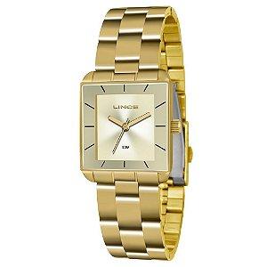 Relogio Feminino Quadrado Dourado Lince LQG4583L C1KX