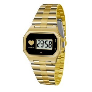 Relogio Feminino Digital Quadrado Dourado Lince SDG4479L
