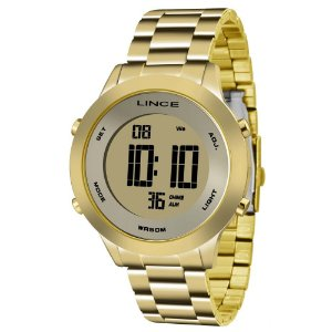 Relogio Feminino Digital Dourado Lince Sdph037l Kxkx
