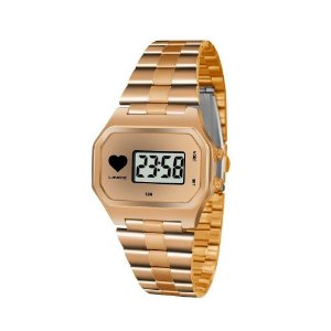 Relogio Feminino Digital Quadrado Rose Gold Lince