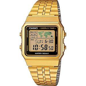 Relogio Feminino Casio Digital Dourado Vintage Hora Mundial