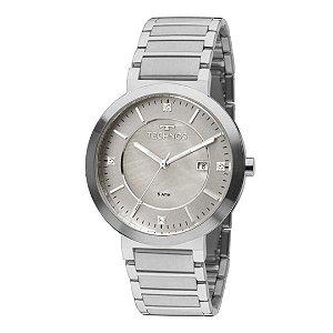 Relógio Feminino Prata Mostrador com Pedras e Data 2115KTK