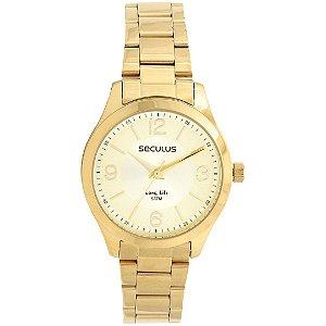 Relogio Feminino Dourado Seculus Fundo Prata/Dourado 77000LP