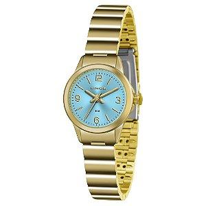 Relogio Feminino Dourado Lince Fundo Azul LRG4434L A2KX
