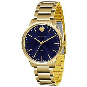 Relogio Feminino Dourado Fundo Azul Lince LRG611L D1KX