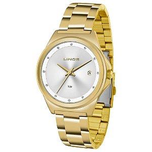 Relógio Feminino Dourado Analógico Com Data Lrg4567l S1kx
