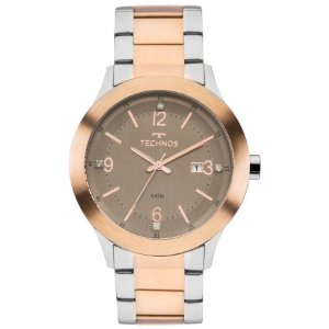 Relógio Feminino Prata com Rose Technos Com Data 2115MKP/4M