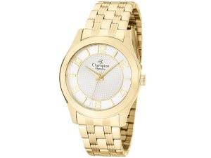Relógio Feminino Dourado Champion Pulseira Aço Dourado