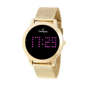 Relógio Feminino Digital Led Roxo Dourado Champion Original