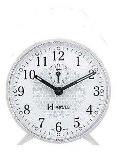 Despertador Branco Redondo Mecanico a Corda Herweg 2220-021