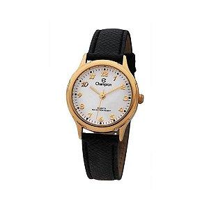 Relógio Feminino Dourado Champion Couro Preta Pequeno