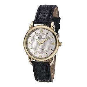 Relógio Feminino Dourado Champion Pequeno Pulseira de Couro