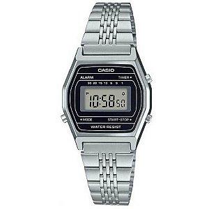 Relógio Casio Vintage Feminino Prata Fundo Preto Digital