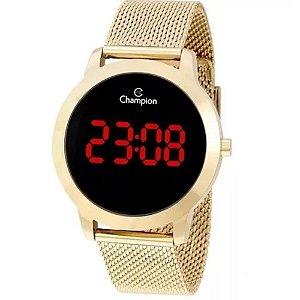 Relógio Feminino Dourado Champion Digital Led Vermelho