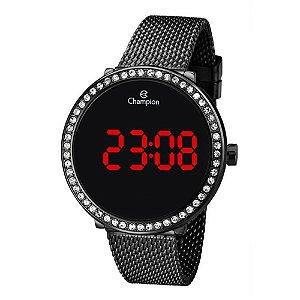 Relógio Feminino Preto Champion Pedras Digital Led Vermelho