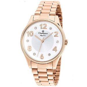 Relógio Feminino Rose Champion Fundo Branco Detalhes Pedras