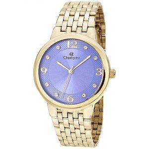Relógio Feminino Dourado Champion Fundo Roxo Detalhes Pedras