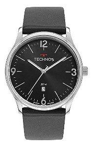 Relógio Masculino Technos Prata com Pulseira de Couro Preto