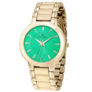 Relógio Feminino Dourado Champion Fundo Verde água Pedras