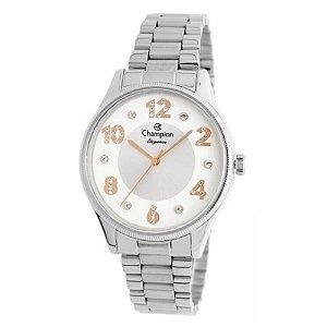 Relógio Feminino Prata Champion Fundo Números Rose + NF