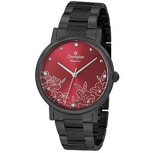 Relógio Feminino Preto Champion Fundo Vermelho Flor e Pedras