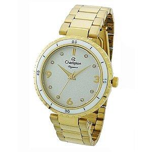 Relógio Feminino Dourado Champion Fundo Branco com Pedras