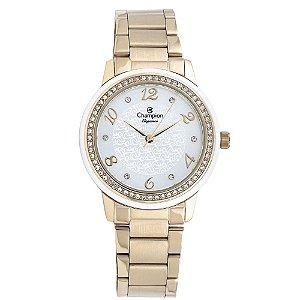 Relógio Feminino Dourado Champion Detalhes Branco com Pedras