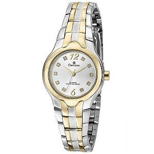 Relógio Feminino Prata e Dourado Champion Pequeno Pedras