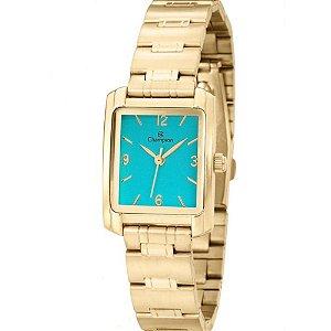Relógio Feminino Dourado Champion Quadrado Fundo Azul + NF