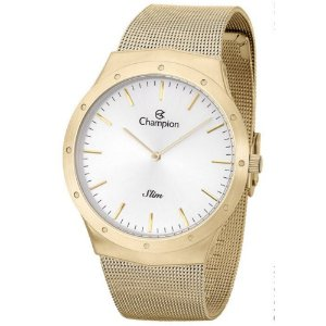 Relógio Feminino Dourado Champion Slim Fundo Prata Original