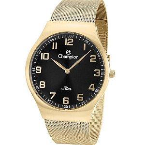 Relógio Feminino Dourado Champion Slim Fundo Preto Original