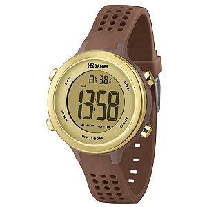 Relógio Feminino Marrom e Dourado X-Games Digital Silicone