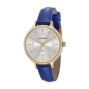 Relógio Feminino Dourado Pulseira de Couro Azul Mondaine