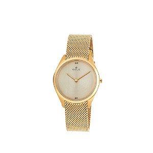 Relógio Feminino Slim Dourado Com Segundos Vidro De Safira