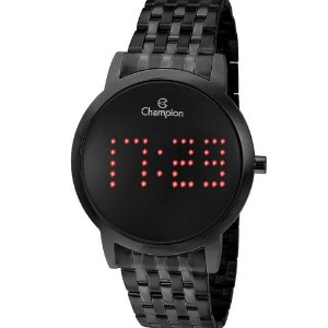 Relógio Feminino Preto Champion Digital Led Vermelho Data+NF