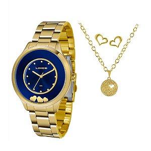 Kit Relogio Feminino Dourado Fundo Azul Colar e Brinco Lince