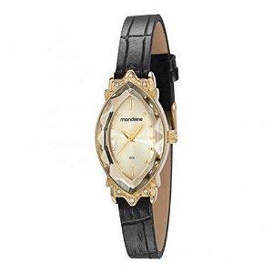 Relógio Feminino Mondaine Dourado Pulseira Couro Com Pedras