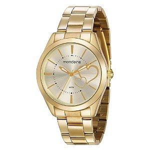 Relógio Feminino Dourado Mondaine Fundo com Corações + NF