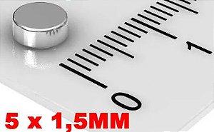 Imã De Neodímio Disco 5mm X 1,5mm - *100 Peças*