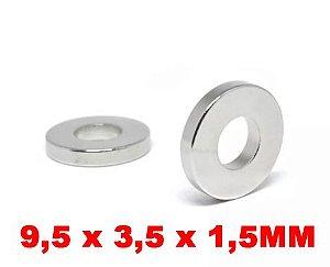 Imã De Neodímio Anel 9,5mm X 3,5mm X 1,5mm *100 Peças*