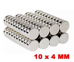Imã De Neodímio Disco 10mm X 4mm *10 Peças*