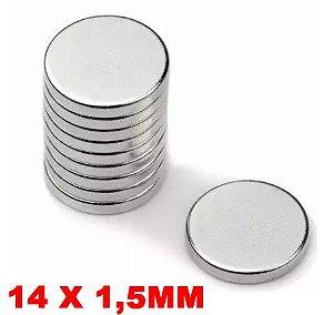 Imã De Neodímio Disco 14mm X 1,5mm *10 Peças*