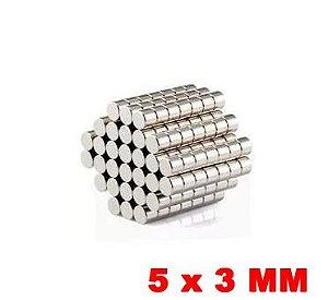 Imã de Neodímio Disco 5mm x 3mm *50 Peças*