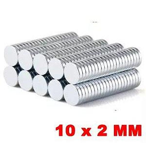 Imã De Neodímio Disco 10mm X 2mm *10 Peças*