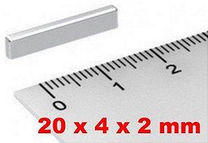 Imã De Neodímio Bloco 20mm x 4mm x 2mm *50 Peças*