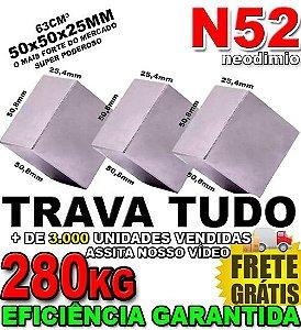 Imã De Neodímio Bloco 50x50x25mm Super Forte Trava Tudo N52 Original *3 Unidades*