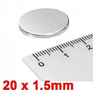 Imã De Neodímio Disco 20mm x 1,5mm *10 Peças*