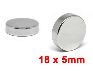 Imã De Neodímio Disco 18mm x 5mm *5 Peças*