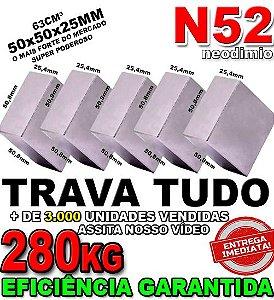 Imã De Neodímio Bloco 50x50x25mm Super Forte Trava Tudo N52 Ima *05 Unidades*